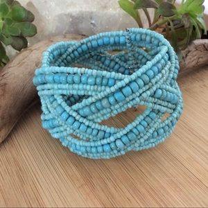 Turquoise beaded wire cuff